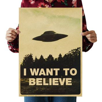 I Want to Believ UFO Printed Kraft Paper Poster Good Gift