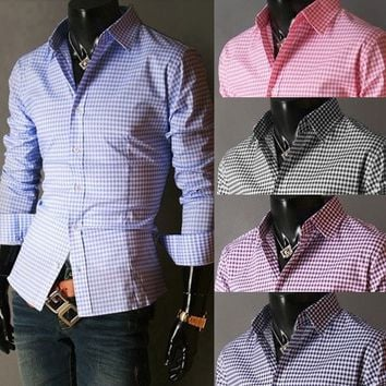 Spring French Plaid  Long Sleeve Collar Shirts