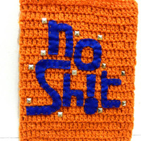 NoSht iPad Case- orange blue - iPad 1 2 3 - crochet case with studs