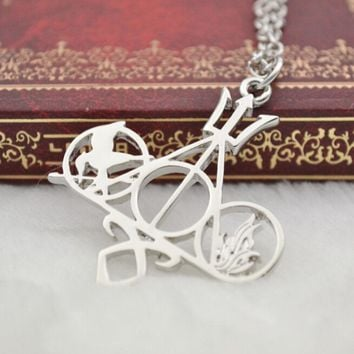 Hot Movie Hunger Games The Mortal Instruments City Of Bones Divergent Percy Jackson Necklace Gold And Sliver