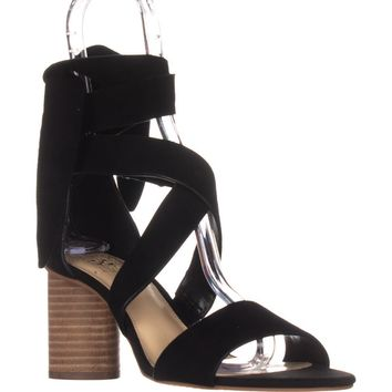 Vince Camuto Jeneve Strappy Dress Sandals, Black Suede, 9.5 US / 39.5 EU