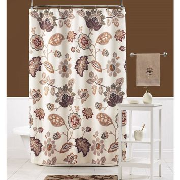 Paisley Floral Leaf Fabric Shower Curtain Beige Orange Brown 100% Polyester