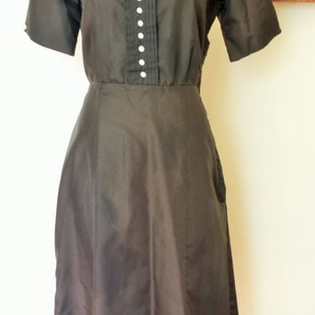"Vintage 1940s Black Taffeta Dress, 40s Button Front Dress, Square Neckline Dress, World War Two Dress, 1940s Dress, 30"" Waist"