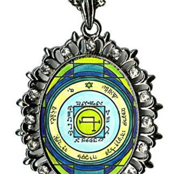 Solomons 5th Sun to Quickly Transport Anywhere Huge Gunmetal Medallion Rhinestone Pendant