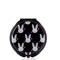 FOREVER 21 Bunny Print Mirror Compact Black/Pink One