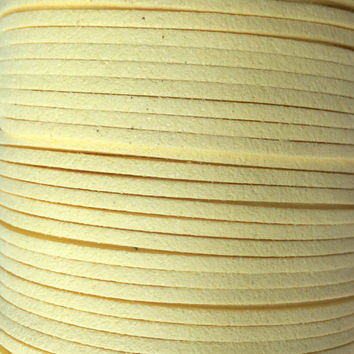 Yellow Faux Suede Cord - 3mm flat - 3, 5, 10 yards/meters - microfiber leather bracelet necklace jewelry making supply pale light yellow