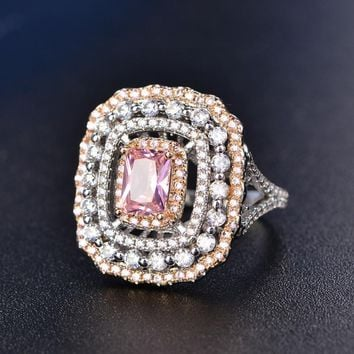 Wedding Rings For Women Silver S925 Sterling Fine Jewelry Pink Topaz Square Luxury Ring Bridal Engagement Rinngen Accessories