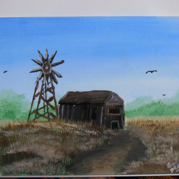 Country Barn in Wheat Field with Windmill Landscape Acrylic Painting on Canvas Panel