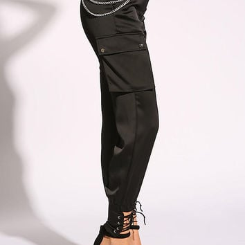 Black Silky Chain Belt Cargo Pocket Jogger Pants