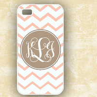 Chevron Iphone case 4 and 4s monogram pink and by ToGildTheLily