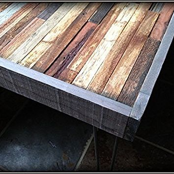 25% OFF SALE - Barn wood Coffee Table - Industrial Furniture - Modern Reclaimed Barn Wood Rustic Wood and Vintage Steel Legs
