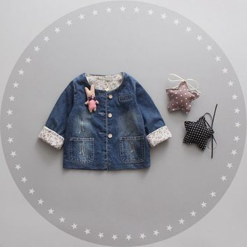 Autumn Baby Girls Denim Long Sleeve O Neck Cartoon Rabbit Jacket Coat Infant Kids Jeans Cardigan Outerwear casaco roupas de bebe