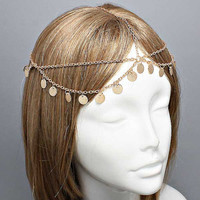 Bohemian Gold Coin Double Layer Head Chain Headpiece, Grecian headchain, House Of Harlow Style Gypsy head jewelry, Wedding Haadchain