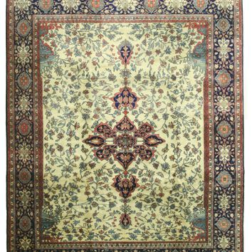 EORC Hand-knotted Wool Ivory Traditional Oriental Mohtasham Rug
