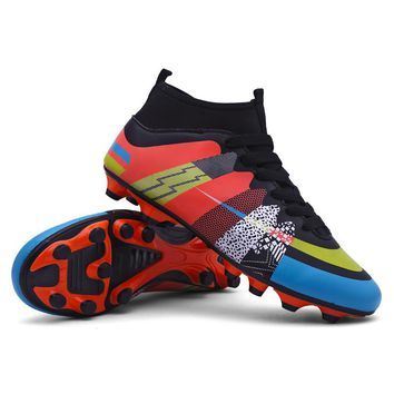 New Arrival Football Boots FG High Ankle Long Spikes Soccer Shoes Superfly Outdoor Cleats For Men Children Training Sneakers