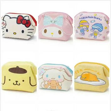Cartoon My Melody Hello Kitty Cinnamoroll Pudding Dog Plush Coin Purse Bag Anime Girls Kids Lover Children Best Christmas Gift