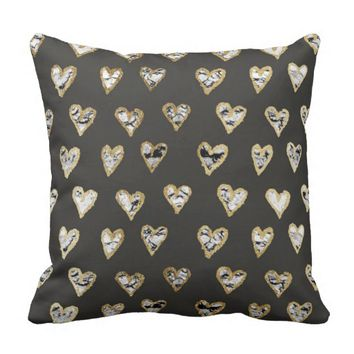 Modern Chic Black White Marble Gold Hearts Throw Pillow