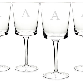 Monogram Contemporary Wineglasses, Set of 4, Wine Glasses