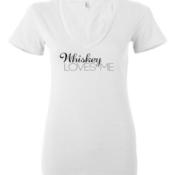 WHISKEY LOVES ME - Bella Ladies Deep V-Neck