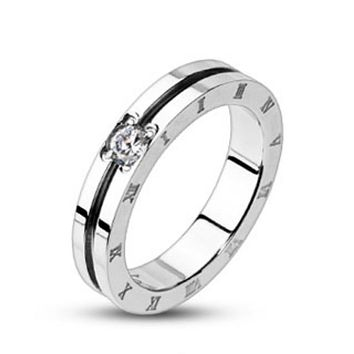 Grooved Center with Clear CZ Engraved Roman Numeral Side Band Ring 316L Stainless Steel