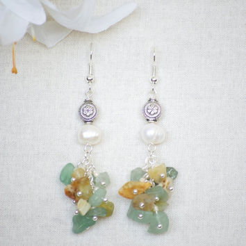 Natural Stone Earrings - Jade Earrings - Aventurine Earrings - Flower Earrings - Stone Cluster Earrings - Flower Jade Earrings - Earrings