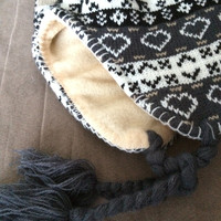 Earth Tones Snowflake Pattern  Knit Fleece Lined Trapper Hat with braids and tassles