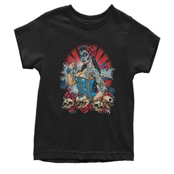 Pinup Day Of The Dead Skull Roses Youth T-shirt
