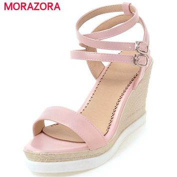 MORAZORA Hot sale new arrive women shoes sandals in summer wedges shoes 9cm spuer heels party shoes elegant platform size 34-43
