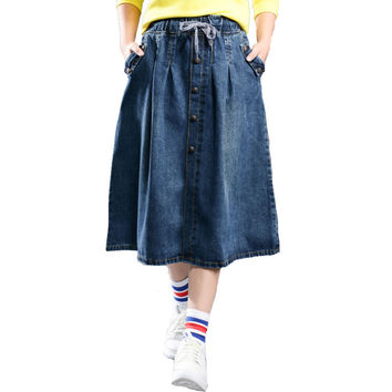 Korean Casual Blue jeans Skirt Women Preppy Style Elastic Waist Thin A Line Midi Skirt faldas mujer Autumn Long Skirts Plus Size