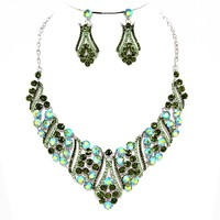 Affordable Wedding Crystal Rhinestone Filigree Design V-drop Necklace Jewelry Earring Set Bridesmaid Bridal