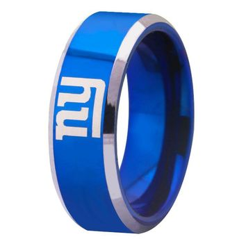Blue With Shiny Edges New York Giants Logo Tungsten Mens Ring