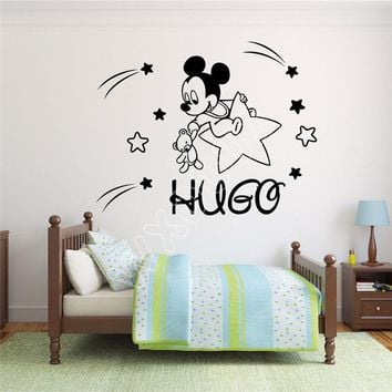 WXDUUZ Custom Name Mickey Mouse Wall Decal Decor For Kids Childs living room space Vinyl Wall Sticker  Home Decor B378