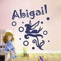 Personalized Name Wall Decals Fairy Decal Vinyl Fairy Sticker Angel Flowers Girl Nursery Bedroom Decor Butterfly Art Murals MN939