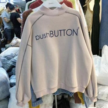 College style autumn and winter plus velvet warm loose line printed letters small high collar sets of female wild sweater