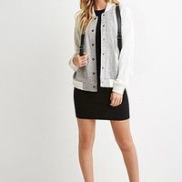 Marled Colorblock Bomber Jacket