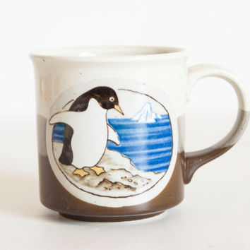 Vintage Otagiri Penguin Mug, Bird Coffee Cup, Hand Painted Glazes Made in Japan