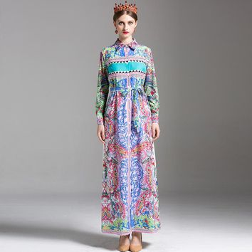 Retro Noble Dresses 2017 Summer Women New Fashion Full Sleeve Button Loose Turn-Down Collar Contrast Color Print Bohemian Dress