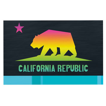 "Fimbis ""California"" Multicolor Teal Decorative Door Mat"