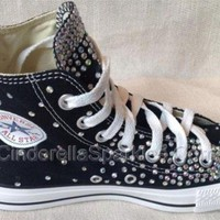 DCCKHD9 Black Chuck Taylor High Top Crystal Rhinestone Converse Bridal Prom Romany Shoes