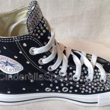 DCKL9 Black Chuck Taylor High Top Crystal Rhinestone Converse Bridal Prom Romany Shoes