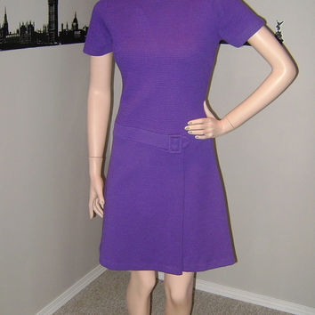 Purple Vintage 60's Dress Mod Classic Knit Mini-Dress Mad Men Fashion Wool TanJay Canada Knitwear