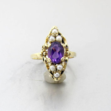 Victorian Amethyst Seed Pearl Ring. 10K Yellow Gold Antique Ring. February Birthstone Ring. Antique Amethyst Pearl Jewelry. Engagement Ring.