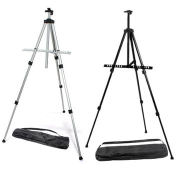 New Excellent Quality Outdoors Aluminium Alloy Folding Painting Easel Frame Adjustable Tripod Display Shelf And Carry Bag