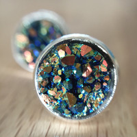 Druzy Stud Earrings Iridescent Green Rainbow Coloured Shimmer *Nickel Free