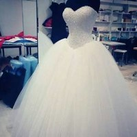 Sleeveless Bling Ivory Ball Gown Bridal Wedding Dress Custom Size 0 2 4 6 8 10