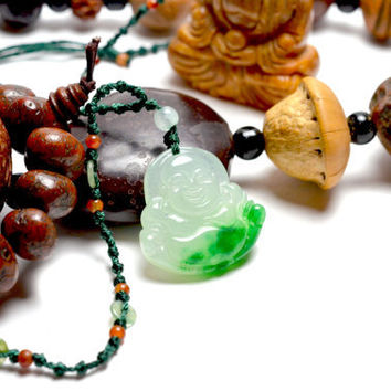 Elegant Happy buddha Chinese Jadeite Jade Pendant Necklace, 19,5 x 23 Inches Jade Decorated Necklace, Pendant 30mm x 30mm - 6 mm