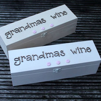 Grandma Wooden wine box for storing bottle with name or wording on