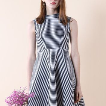 Stripes of Chic Airy Skater Dress