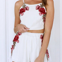 White Rose Embroidered Midriff Terno