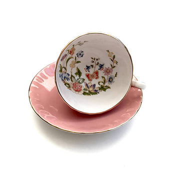Aynsley Pink Cottage Garden Tea Cup Set, English Bone China, Vintage Tea Cup And Saucer, Oban Shape, Gold Gilt Trim, 1970s, Weddig Gift